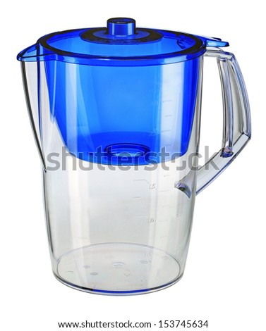 Blue water filtration pitcher / domestic water purifier - closeup isolated on white background