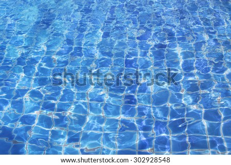 Blue water in the pool. Water background