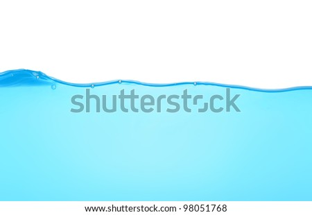 Blue water isolated on white - stock photo