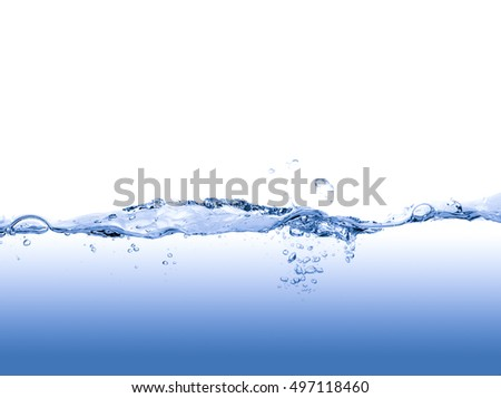 blue water isolated on white background
