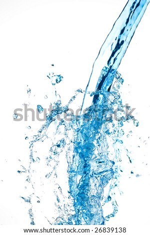 Blue water isolated on white.Background water drop.