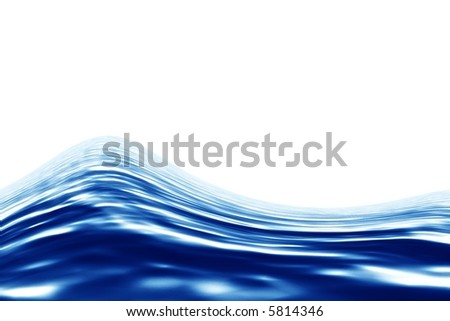 Blue water over white background. Render - stock photo