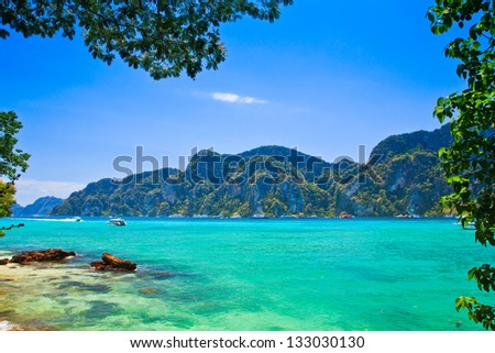 Blue water Phi Phi Island south of Thailand - stock photo