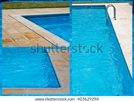Blue water pool collage with water background - stock photo