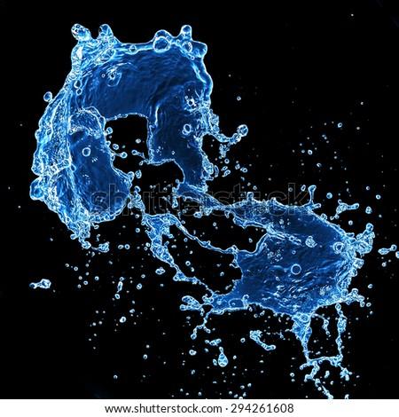 blue water splash isolated on black background  - stock photo