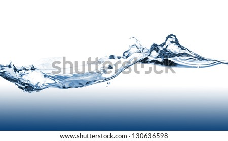 Blue water splash on a white background - stock photo