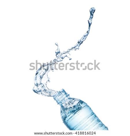 Blue water splash on bottle - stock photo