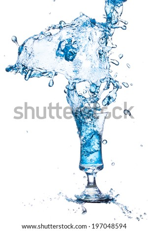 blue water splash on from cup white background. - stock photo
