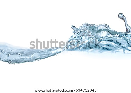Blue water splashes and bubbles isolated on white background.