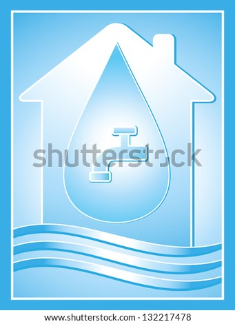 blue water symbol with house, drop and tap - stock photo