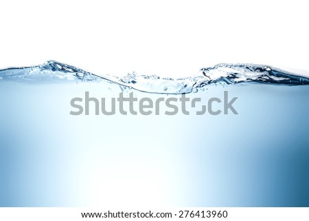 Blue water wave and bubbles to clean drinking water. - stock photo