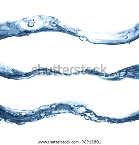 Blue water waves flowing isolated on white background. - stock photo