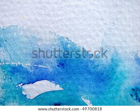 Blue Watercolor Abstract 3 - stock photo