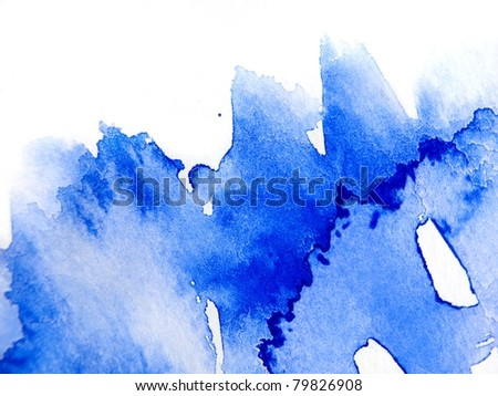 Blue Watercolor Abstract 1 - stock photo