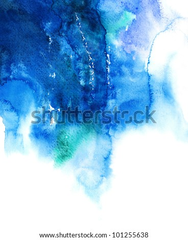 Blue watercolor abstract hand painted background - stock photo