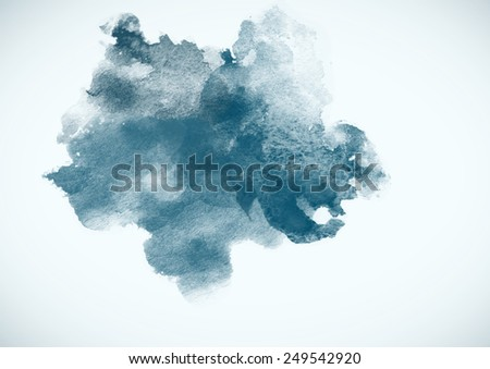 Blue Watercolor Blob for decoration and design. Posters, texture and other.  - stock photo
