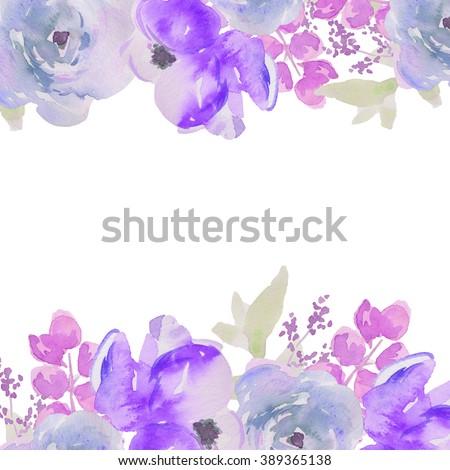 Blue Watercolor Flower Border Watercolour Flowers