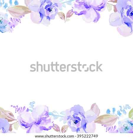 Blue Watercolor Flowers Border