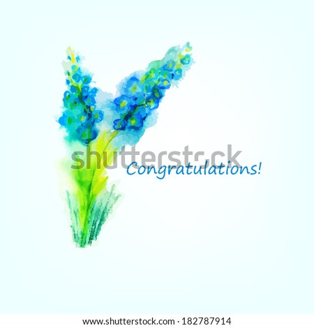 blue watercolor flowers. Greeting Card. Raster - stock photo