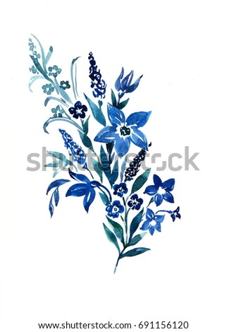 Blue watercolor flowers on white background