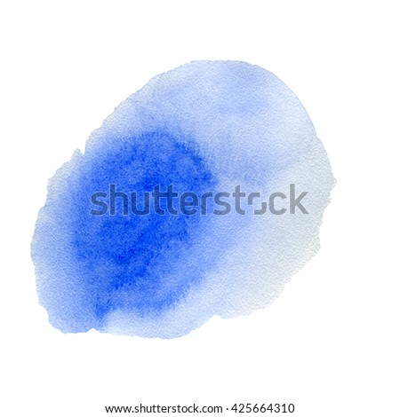 blue watercolor hand painted background isolated on white - stock photo
