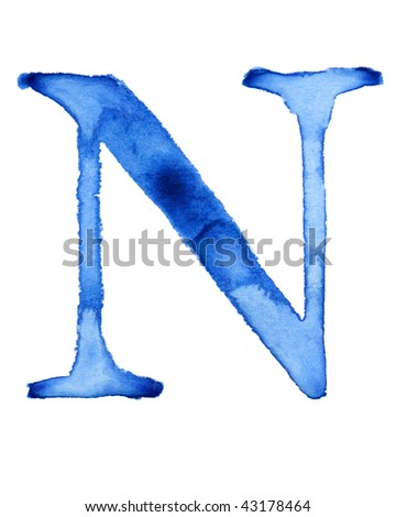 Blue watercolor letter - stock photo