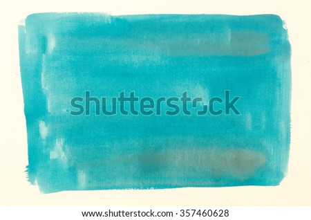 blue watercolor painting background on white paper - stock photo