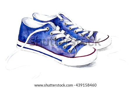 Blue Watercolor Sneakers