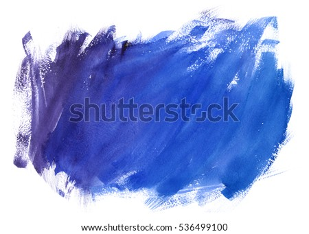 Blue watercolor spot texture with stains hand paint on white background. Abstract art for design.
