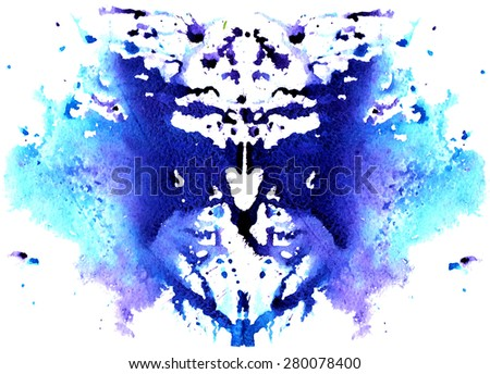blue watercolor symmetrical Rorschach blot on a white background - stock photo