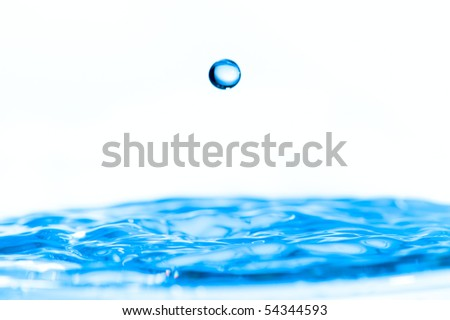 blue waterdrops in the studio - stock photo