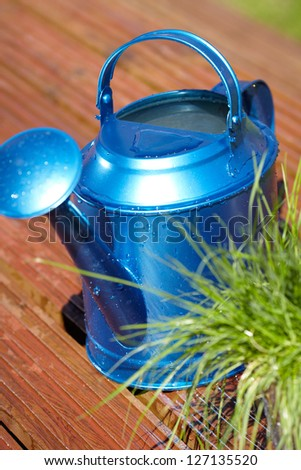 blue watering can in garden - stock photo