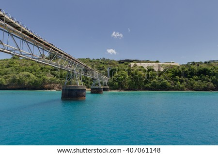 Blue waters of a beach in Aguadilla, Puerto Rico - stock photo