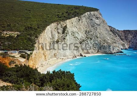 Blue Waters of Porto Katsiki Beach, Lefkada, Ionian Islands, Greece - stock photo