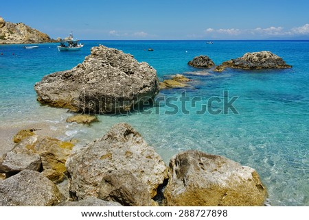 Blue Waters of the Agios Nikitas Beach, Lefkada, Ionian Islands, Greece - stock photo