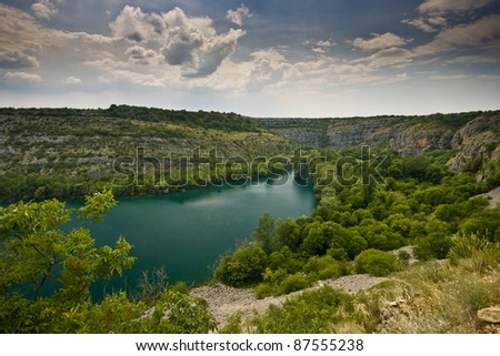 Blue waters of the river Krka in the National park Krka