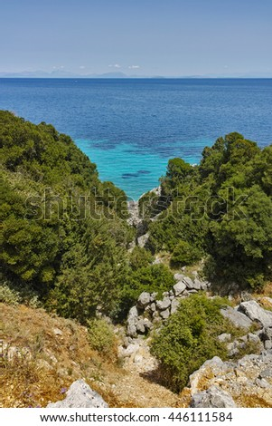 Blue waters on the small beach, Kefalonia, Ionian Islands, Greece - stock photo