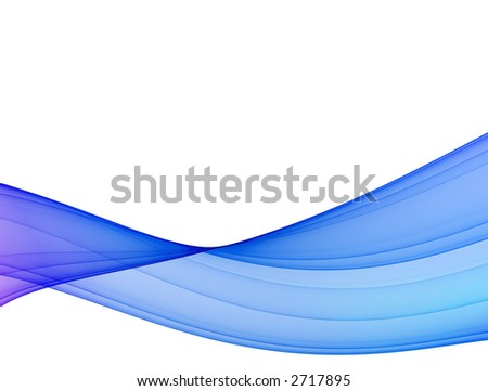 blue wave - high quality abstract formation on white background