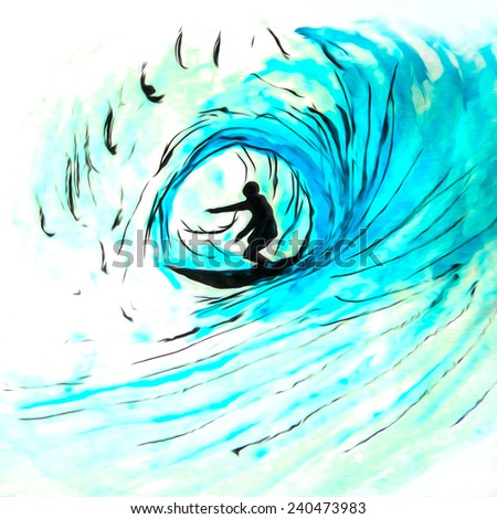 Blue wave surfer, original pen and ink watercolor with digital enhancement