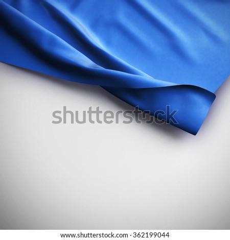 Blue Waving flag background. Luxury fabric background.  - stock photo
