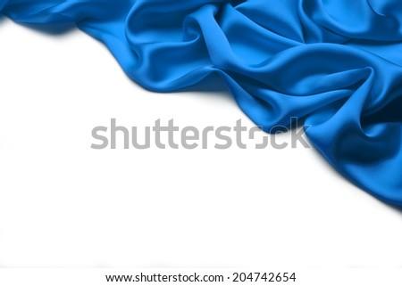 Blue wavy Silk background texture - stock photo