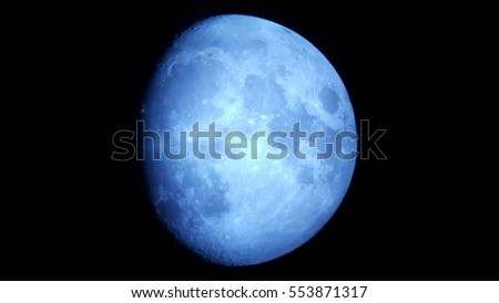 Blue Waxing Gibbous Moon Wallpaper Photo
