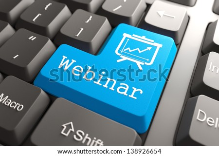 "Blue ""Webinar"" Button on Computer Keyboard. Education Concept. - stock photo"