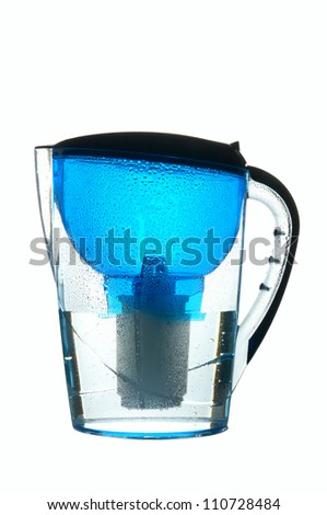 Blue wet water filter isolated on white - stock photo