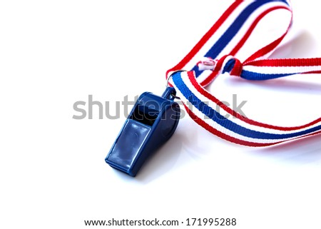 Blue whistle isolated on the white background - stock photo