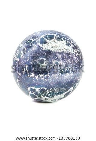 Blue white ball marble or planet isolated over white - stock photo
