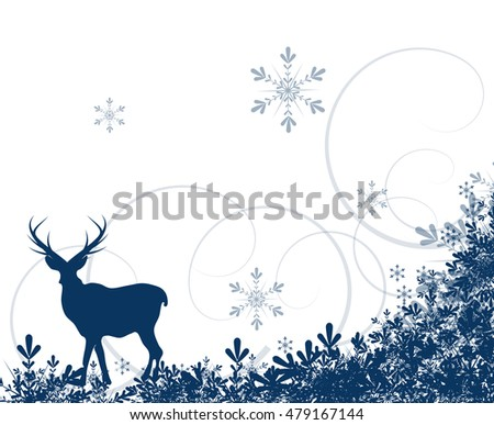 Blue white christmas background with deer and snowflakes decoration