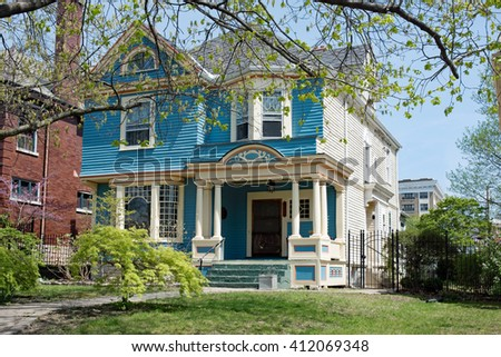 Blue & White Victorian House  - stock photo