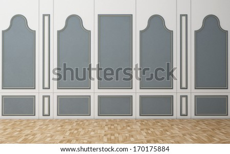 Blue-White wall in a classic style wooden floor - stock photo