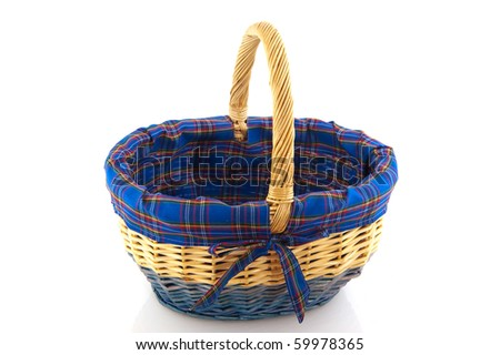 blue wicked basket for picnic or shopping